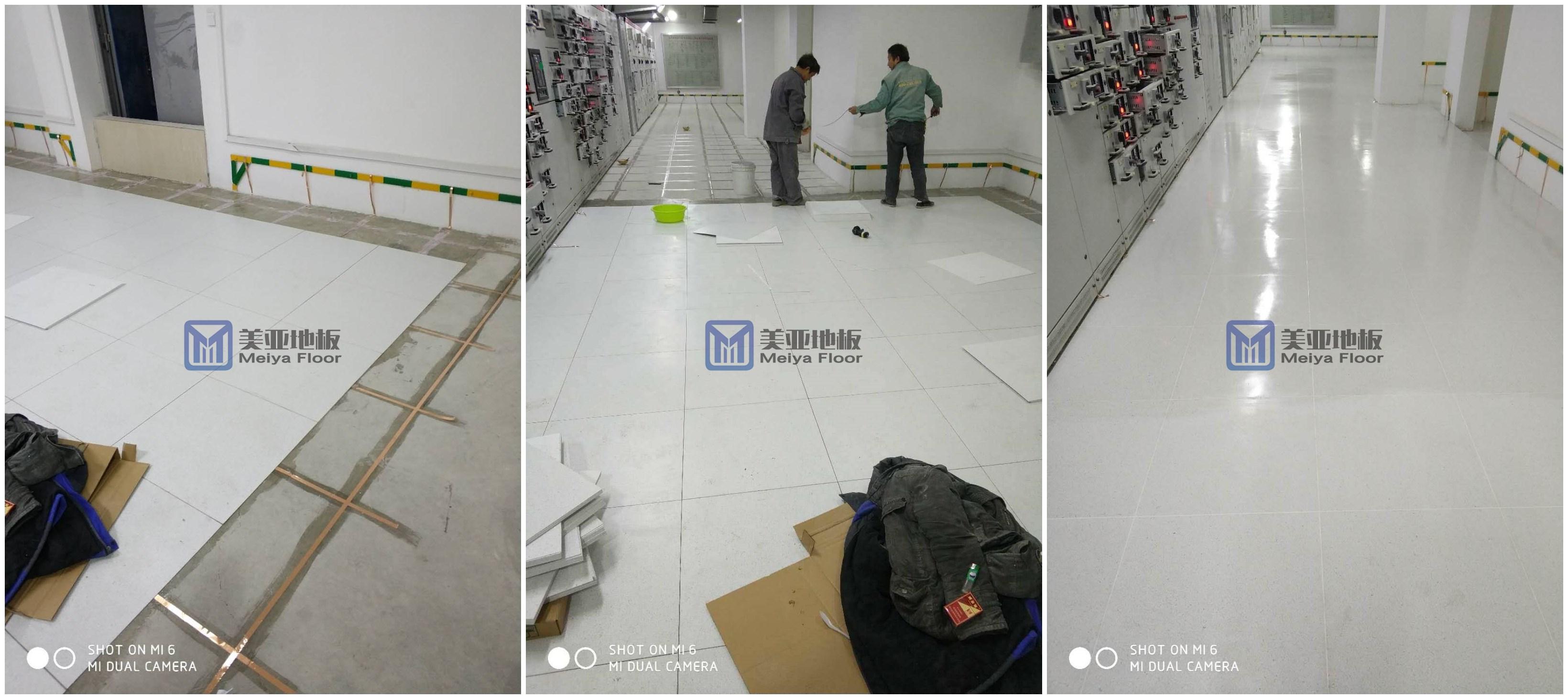 美亚PVCfangjing电di板,工人现场shi工中!